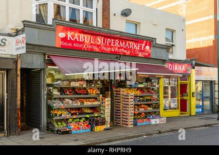 A fruit and vegetable shop facade in St Mary Street in Southampton, England, UK - Stock Image