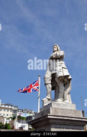 statue William of Orange, Brixham, Devon, England, UK - Stock Image