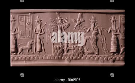 6368. Sumerian God Enki, water erupting from his shoulder ( second on right),  sun God Utu is emerging from the depths (center figure) above winged Goddess Inanna (Ishtar). Akkadian cylinder seal dating c. 2300 BC - Stock Image