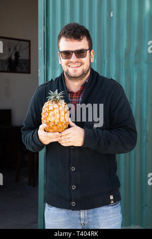 A member of staff holds a pineapple outside the Pineapple Plantation Santo Antonio 1911 in Sao Miguel The Azores - Stock Image