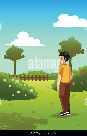 A vector illustration of Man Standing in a Garden Outdoor - Stock Image