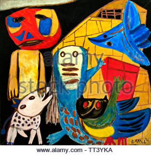Man and Animals by Karel Appel born in 1921 Dutch painter, (sculptor,  poet, Avant-garde movement Cobra), The, Netherlands. - Stock Image