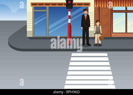 A vector illustration of Father and Son Waiting at Traffic Light - Stock Image