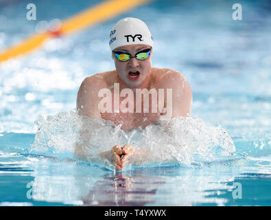 Ross Murdoch on his way to winning his heat of the Men's 200 Breaststroke during day four of the 2019 British Swimming Championships at Tollcross International Swimming Centre, Glasgow. - Stock Image