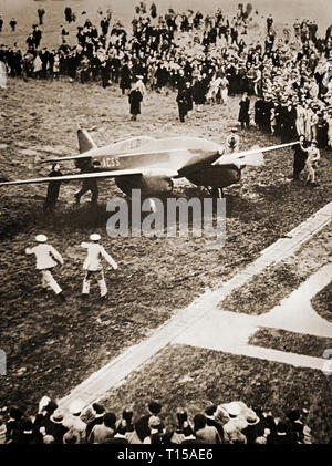 The DH.88 Grosvenor House, flown by Flight Lt. C. W. A. Scott and Captain Tom Campbell Black, in the MacRobertson Trophy Air Race (also known as the London to Melbourne Air Race) that took place in October 1934 as part of the Melbourne Centenary celebrations. They won in a time of less than 3 days, despite flying the last stage with one engine throttled back because of an oil-pressure indicator giving a faulty low reading. - Stock Image