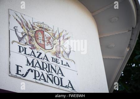 Plaza de la Real Marina Española sign.  Madrid is a south-western European city, the capital of Spain, and - Stock Image