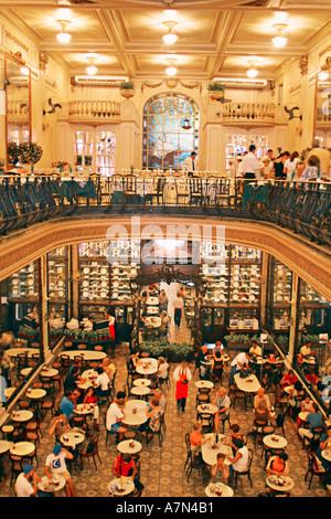Rio de Janeiro Confeitaria Colombo Cafe innen Belle Epoque Cafe salao de cha Tea salon  - Stock Image