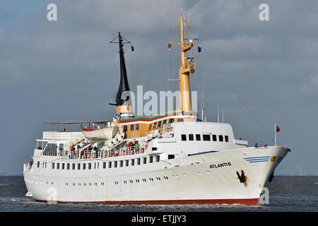 Passengervessel Atlantis inbound Cuxhaven from Helgoland - Stock Image