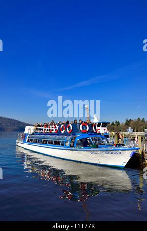 Windermere Lake Cruises,Miss Cumbria,waiting to depart from Bowness on Windermere, with a late afternoon cruise on Lake windermere,Lake District,UK - Stock Image