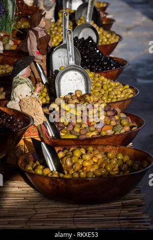 Olives for sale in the market at Sanary sur Mer, France - Stock Image