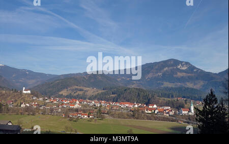 Ljubno ob Savinji is a smal tovn on the upper course of the Savinja River in  Savinja Statistical Region. Slovenia. - Stock Image