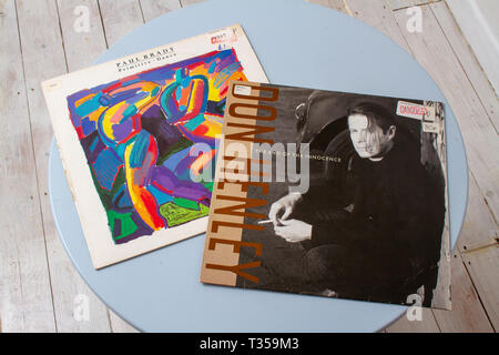 Paul Brady and Don Henley record covers - Stock Image