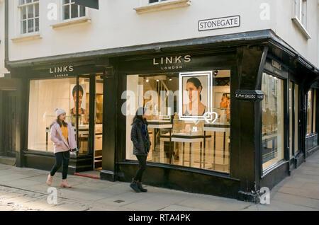 Links of London shop York North Yorkshire England UK United Kingdom GB Great Britain - Stock Image
