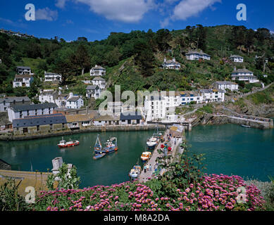 Polperro Harbour, Cornwall, England, UK - Stock Image