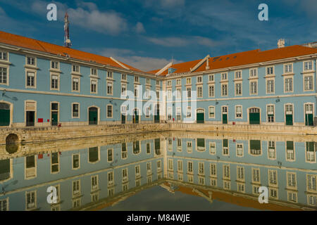 LISBON / PORTUGAL - FEBRUARY 17 2018: BLUE BUILDING REFLECTION IN WATER - Stock Image