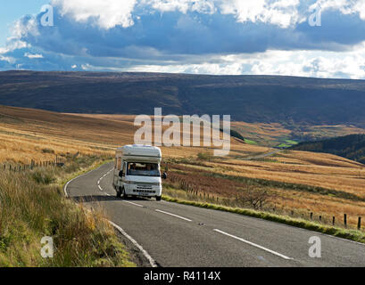 Auto-Sleeper motorhome on road, Holme Moss, West Yorkshire, England UK - Stock Image