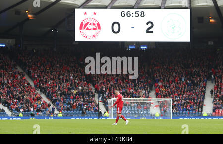Hampden Park, Glasgow, UK. 14th Apr, 2019. Scottish Cup football, semi final, Aberdeen versus Celtic; Lewis Ferguson of Aberdeen leaves the field after his red card Credit: Action Plus Sports/Alamy Live News - Stock Image