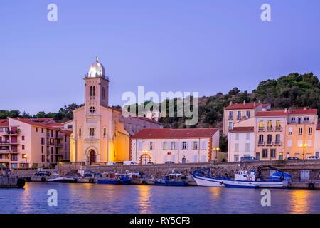 France, Pyrenees Orientales, Cote Vermeille, Port-Vendres, Notre-Dame de Bonne-Nouvelle church - Stock Image