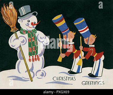 Christmas Greetings card - Snowman and Toy Soldiers.     Date: circa 1930s - Stock Image