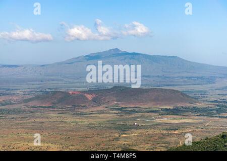 Mount Longonot from Rift Valley escarpment on a sunny morning, Kenya - Stock Image