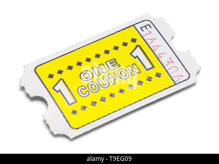 One Yellow Game Coupon Ticket Isolated on White. - Stock Image