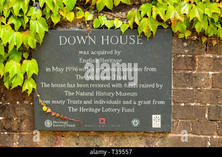 Plaque at Down House, the home of Charles Darwin, recording organisations who helped with the acquisition and restoration. - Stock Image
