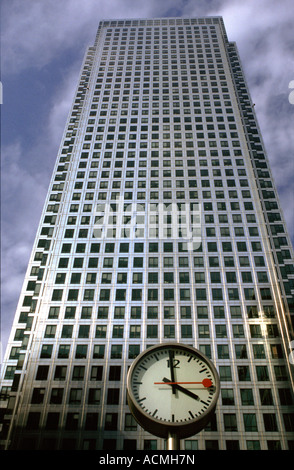 One Canada Square office tower and clock Canary Wharf London - Stock Image