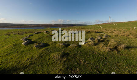 The remains of a Bronze Age burial and kerb cairn Brenig 8 dated to 2000 - 1500 BC and located above the eastern edge of Llyn Brenig reservoir - Stock Image