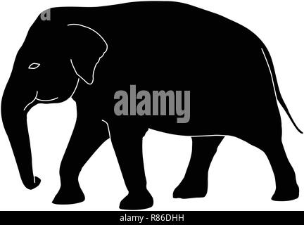 elephant silhouette with white outlines - vector - Stock Image