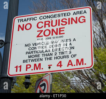 No Cruising Zone Sign - Downtown Salt Lake City -  Utah - Stock Image