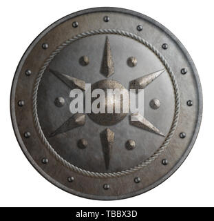 Round metal shield isolated 3d illustration - Stock Image