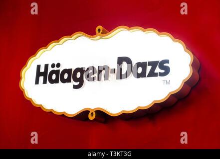 Haagen-Dazs sign in Seville - Stock Image