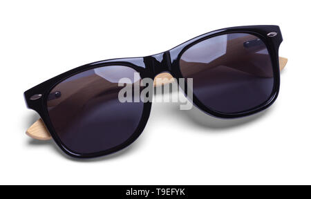 Classic Black Sunglasses with Wood Isolated on White. - Stock Image