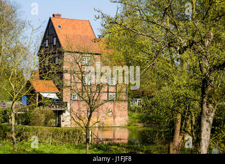 Old mill and mill channel, at monastery Kloster Wienhausen, Celle, Germany - Stock Image