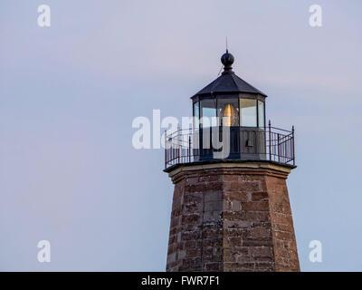 Point Judith Lighthouse, Narragansett, Rhode Island, USA a brownstone light house built in 1857 Coast Guard Station - Stock Image