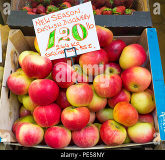 New Season English Class 1 Discovery apples for sale in greengrocers stall in Darlington County Durham priced at £1.20 per pound or £2.64 per Kilo - Stock Image
