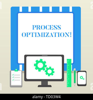 Handwriting text Process Optimization. Conceptual photo Improve Organizations Efficiency Maximize Throughput Business Concept PC Monitor Mobile Device - Stock Image