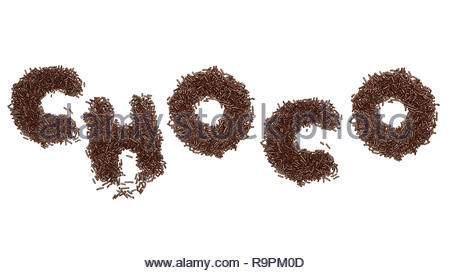 choco writing text made from chocolate sprinkles isolated white background - Stock Image