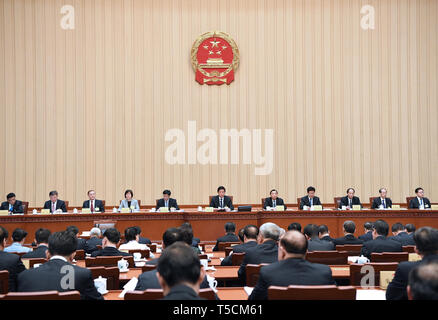 (190423) -- BEIJING, April 23, 2019 (Xinhua) -- Li Zhanshu, chairman of the National People's Congress (NPC) Standing Committee, presides over the 10th session of the 13th NPC Standing Committee at the Great Hall of the People in Beijing, capital of China, April 23, 2019. (Xinhua/Rao Aimin) - Stock Image