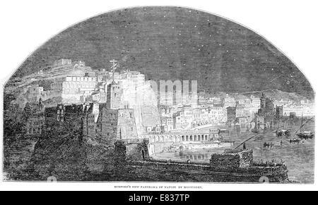 Naples napoli Italy Italian Panorama by Moonlight 1844 - Stock Image