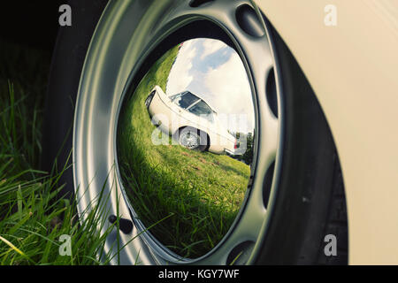 wheel cap reflection - Stock Image