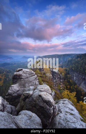 Sunset, Heringstein, View, Saxon Switzerland, Elbe Sandstone Mountains, Germany, Europe - Stock Image