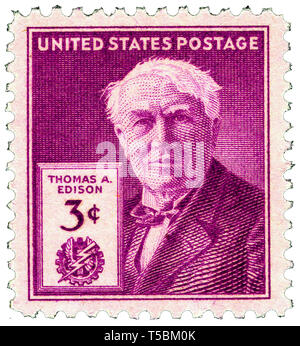 Thomas Edison (1847-1931) 3-cent 1947 issue U.S. stamp, released to mark the 100th anniversary of his birth, 11 February 1947, US Postal Service - Stock Image
