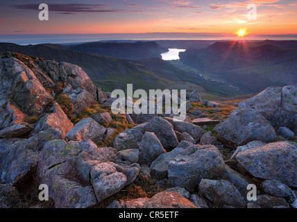 Ennerdale Water  at sunset from the summit of Pillar in the Lake District - UK - Stock Image