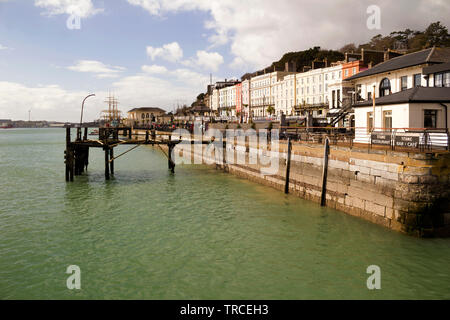 Wharf and colorful buildings in the town of Cobh in County Cork,Ireland. - Stock Image