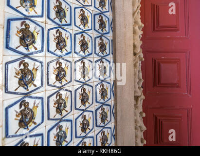 Interior fragment in Pena palace. Sintra, Portugal - Stock Image