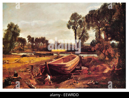 Boat-Building near Flatford Mill John Constable construction barge dry dock carpenter craft builder timber boat - Stock Image