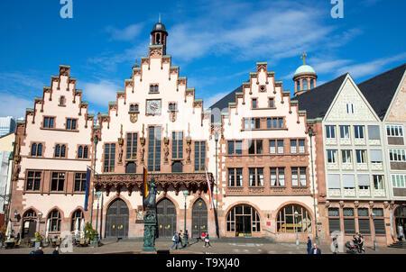 The Ršmer, city hall of Frankfurt am Main, landmark of the city, stepped gable faade - Stock Image