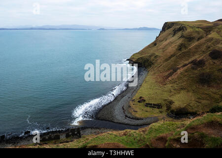Ruins of old dynamite factory at mouth of Abhainn An Lethuillt river gorge on east coast of Isle of Skye, Highland Region, Scotland, UK - Stock Image