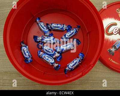 The last unpopular chocolates from a celebrations tin at Christmas - Milky Way - Stock Image